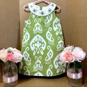 Gymboree Gem Batik Print Size 5 Green & White